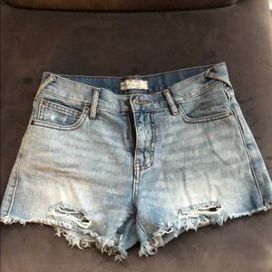 Free People Size 25 Distressed Light Jean Shorts